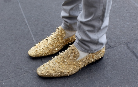 Gold Spiked Smoking Slippers Spotted at NYFW (via wetheurban)